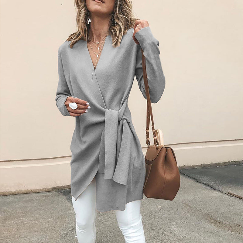 V-neck Solid Color Women Oversized Irregular Straps Bandage Coat