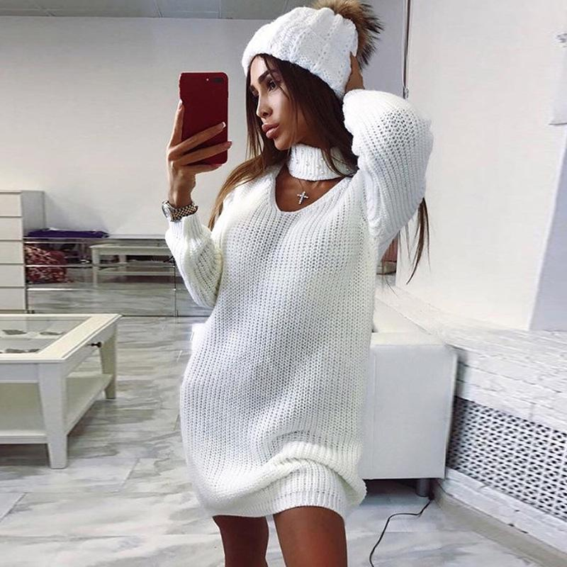 Turtleneck Beads Hollow Out Women Pullover Oversized Sweater Dress