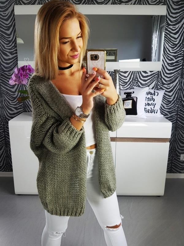Stripe Candy Color Oversized Long Women Cardigan
