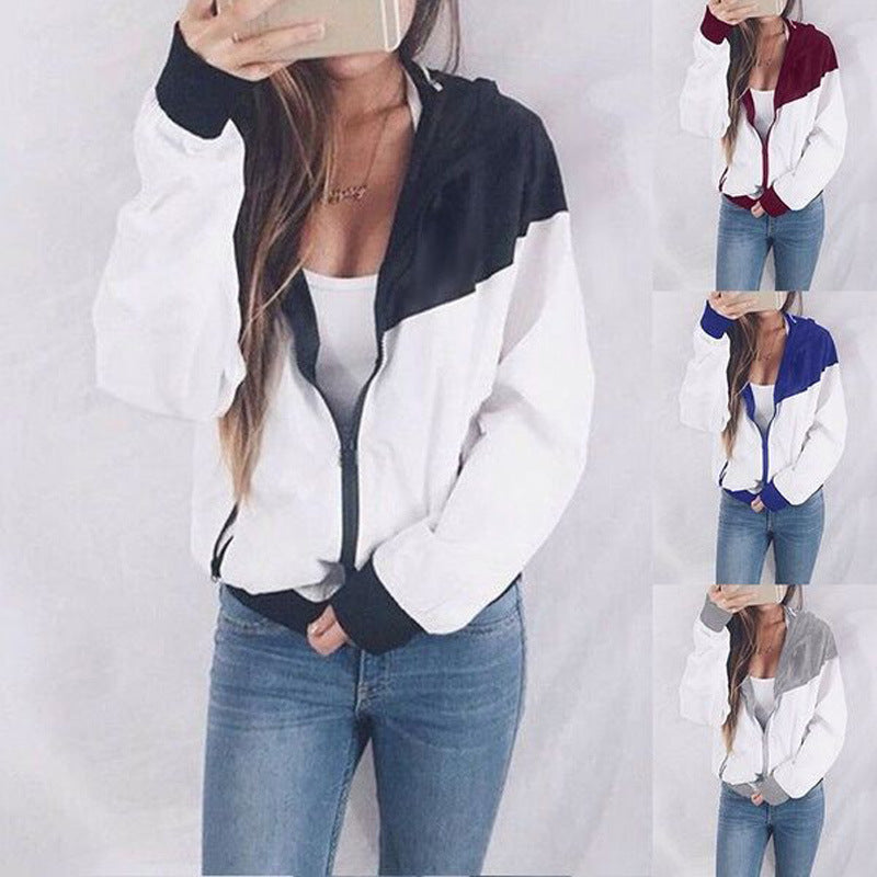 Color Block Patchwork Zipper Women Hooded Coat