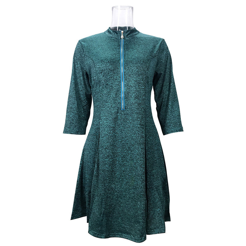 Zipper 3/4 Sleeves Pure Color Women Short Summer Dress