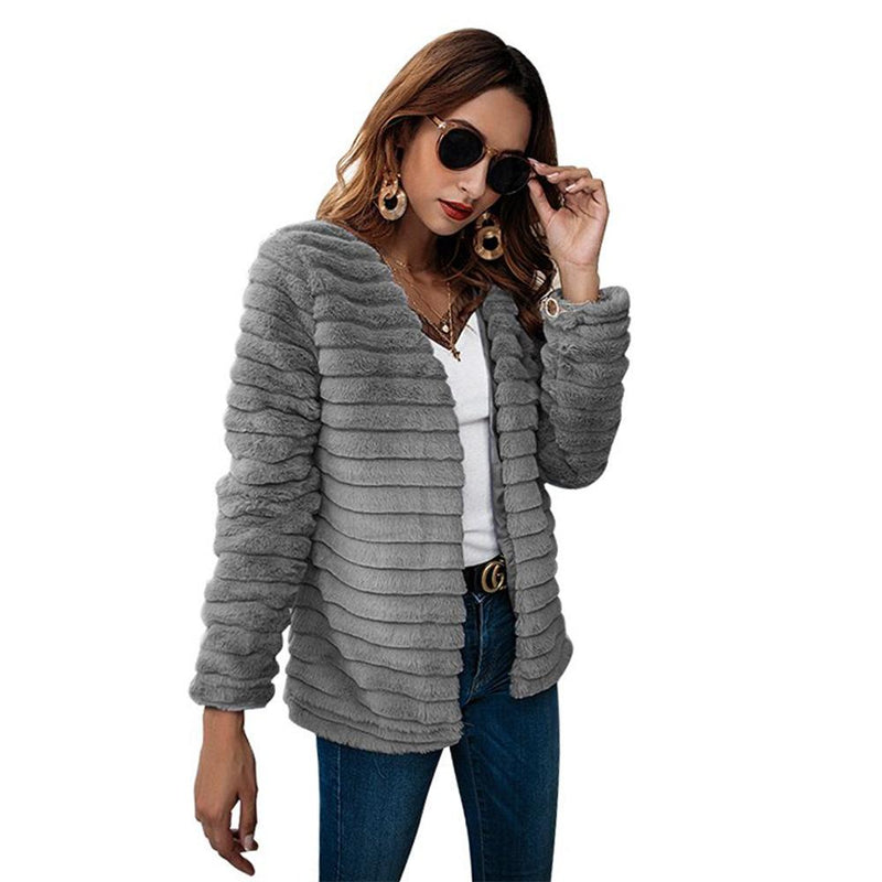 Faux Fur Stripe Solid Color Women Teddy Coat