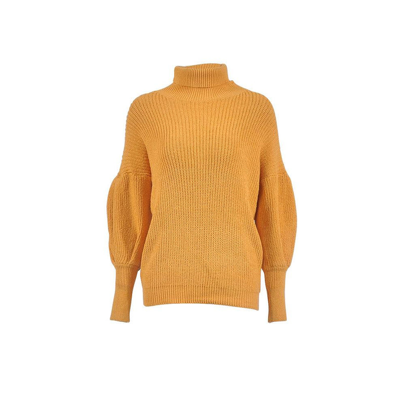 2018 Women's High-neck Pure Color Long Lantern Over-sleeve Sweater