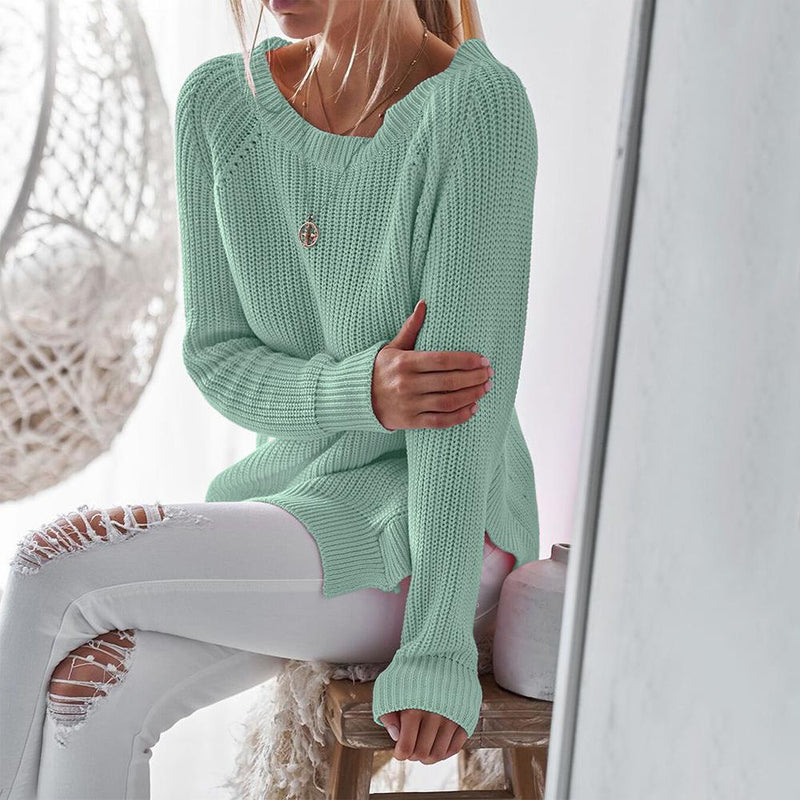 Round Neck Split Loose Solid Color Loose Women Sweater