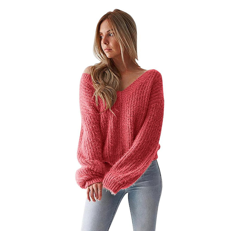2018 V-neck Open Back Long Sleeves Loose Women Candy Color Sweater