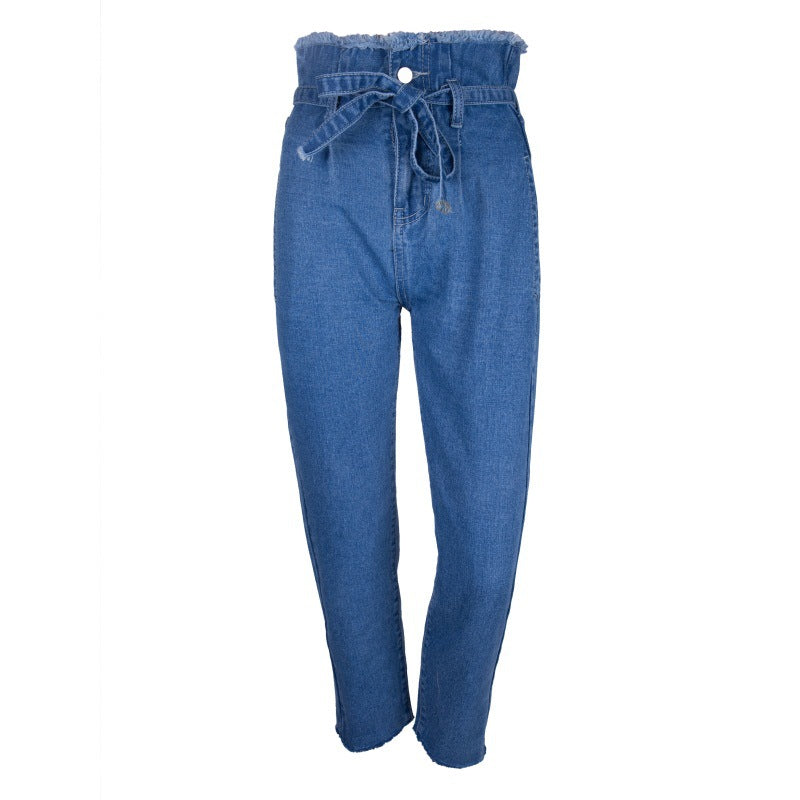 Ruffles Edge High Waist Straps Women 9/10 Denim Jeans Pants