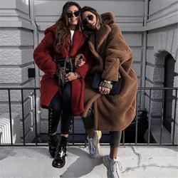 Warm Faux Fur Lapel Collar Oversized Women Teddy Coat