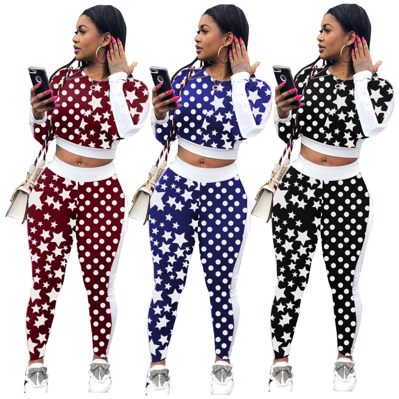 Stars Polka Dots Print Crop Top with Long Skinny Pants Two Pieces Set