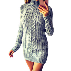 High Neck Cable Knitwear Women Oversized Long Sweater