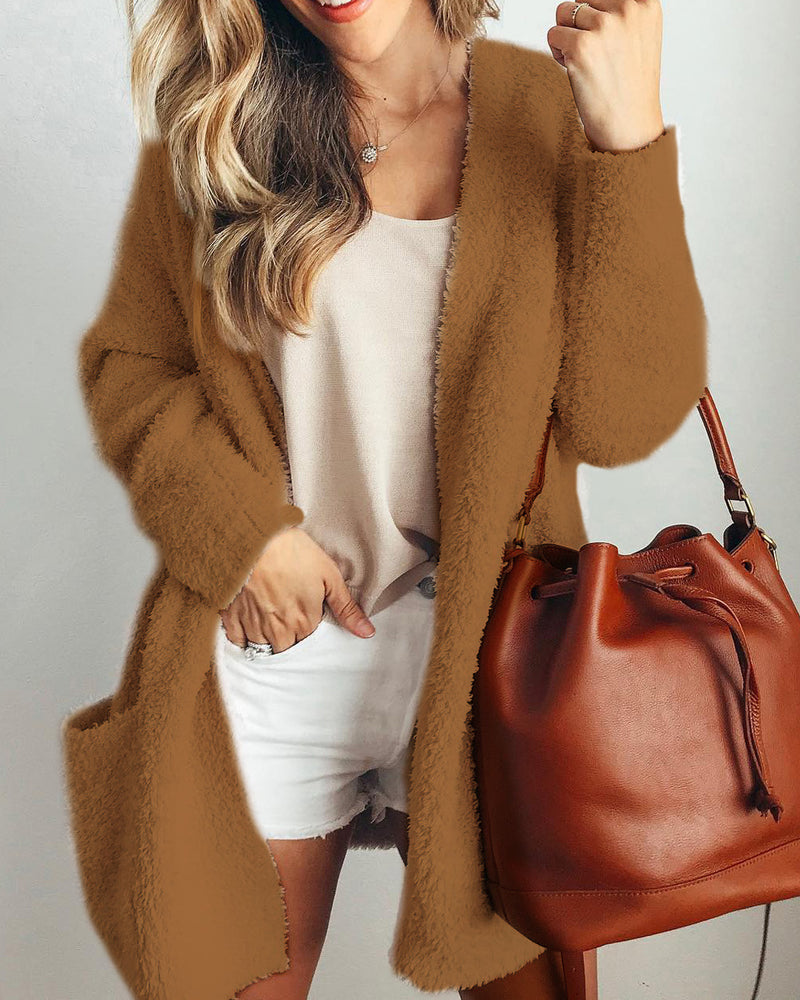 Solid Color Two Pockets Women Loose Oversized Cardigan Coat