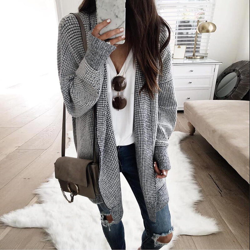 Plaid Lapel Women Loose Oversized Long Cocoon Cardigan