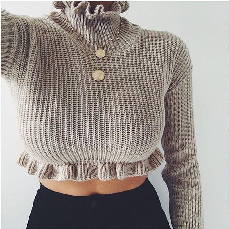 Ruffles Edge Turtleneck Solid Color Women Pullover Cropped Sweater