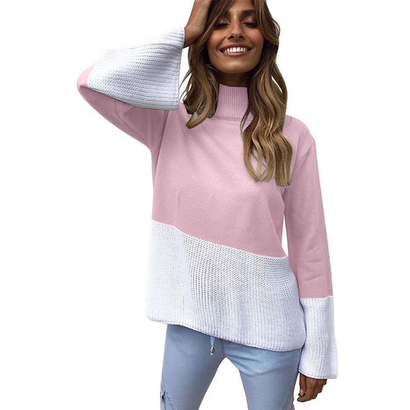 Candy Color High Dropped Neck Loose Knit Women Pullover Sweater