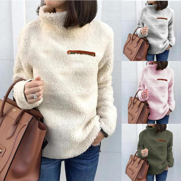 High Neck Fluffy Solid Color Women Sweatshirt