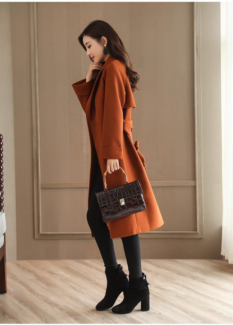 Pure Color Lapel Double Breast Pockets Oversized Women Long Coat
