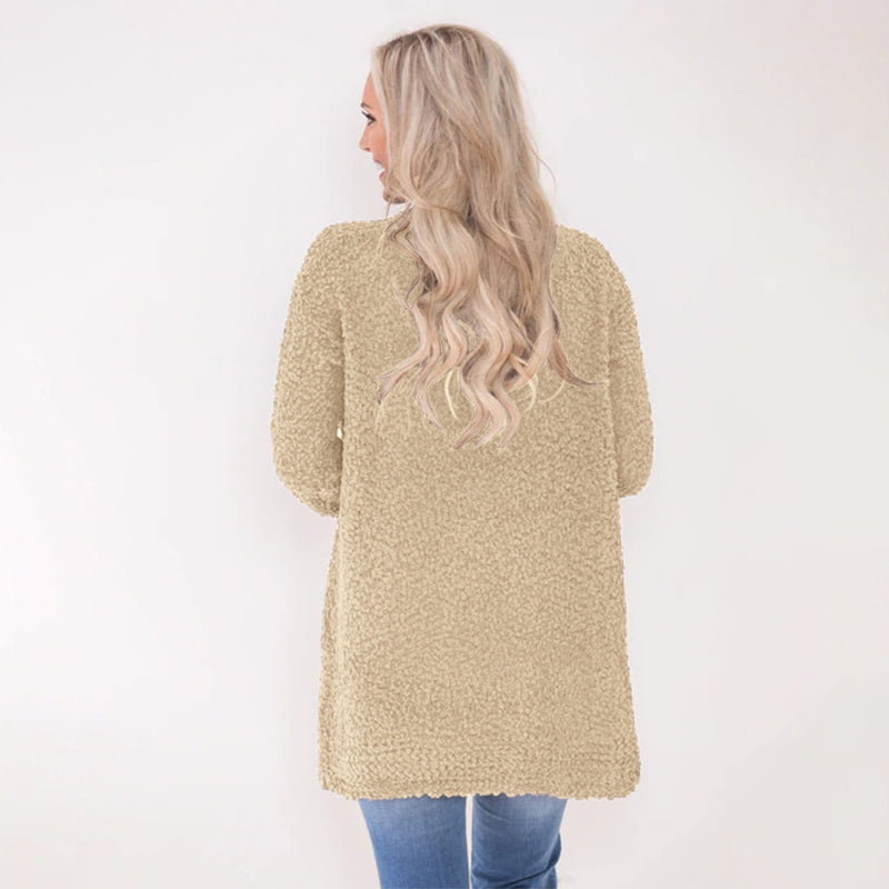 Pure Color Pockets Women Oversized Cocoon Cardigan