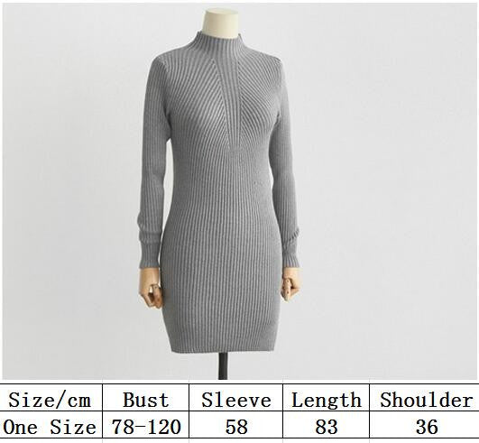 High Neck Bodycon Knitting Sweater Dress - Oh Yours Fashion - 6