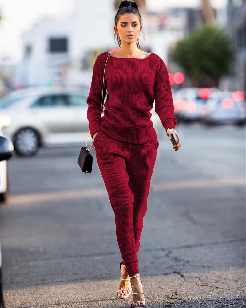 Solid Color Sweater with Long Pencil Pants Two Pieces Winter Set