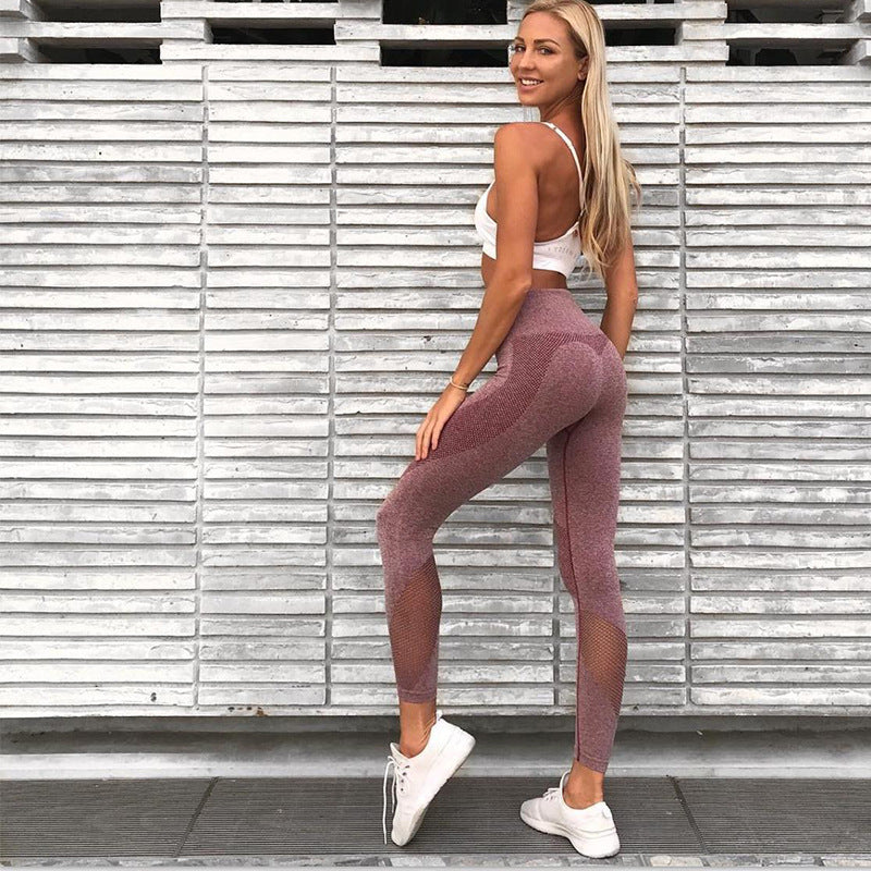 Crop Top with High Waist Long Mesh Patchwork Skinny Leggings Two Pieces Yoga Sports Set