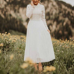 Turtleneck Lace Splice Pleated Maxi Dress