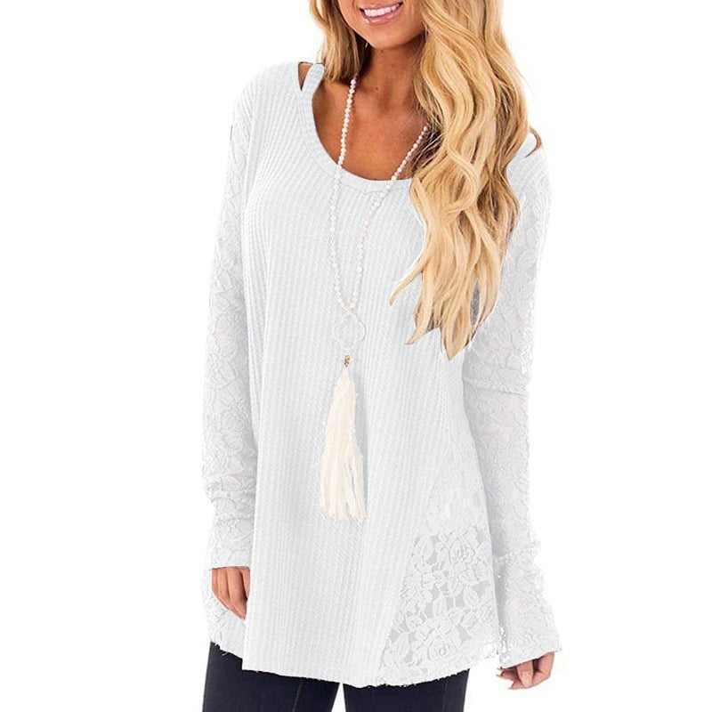 Scoop Long Lace Sleeves Lace Patchwork Women Loose Oversized Sweater