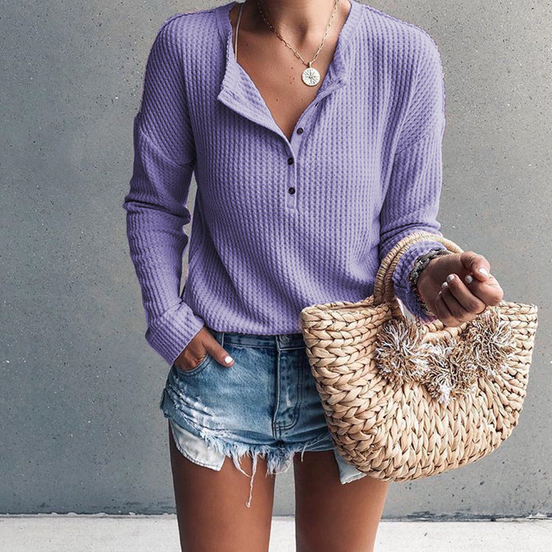 V-neck Buttons Solid Color Women Slim Sweater Top