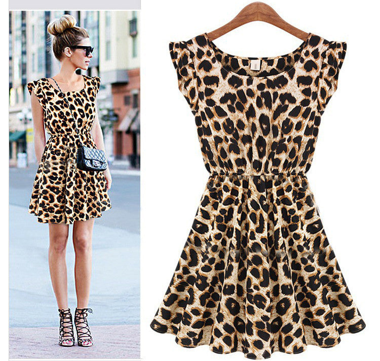 Leisure Slim Fit Leopard Print Short Dress - O Yours Fashion - 1