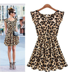 Leisure Slim Fit Leopard Print Short Dress