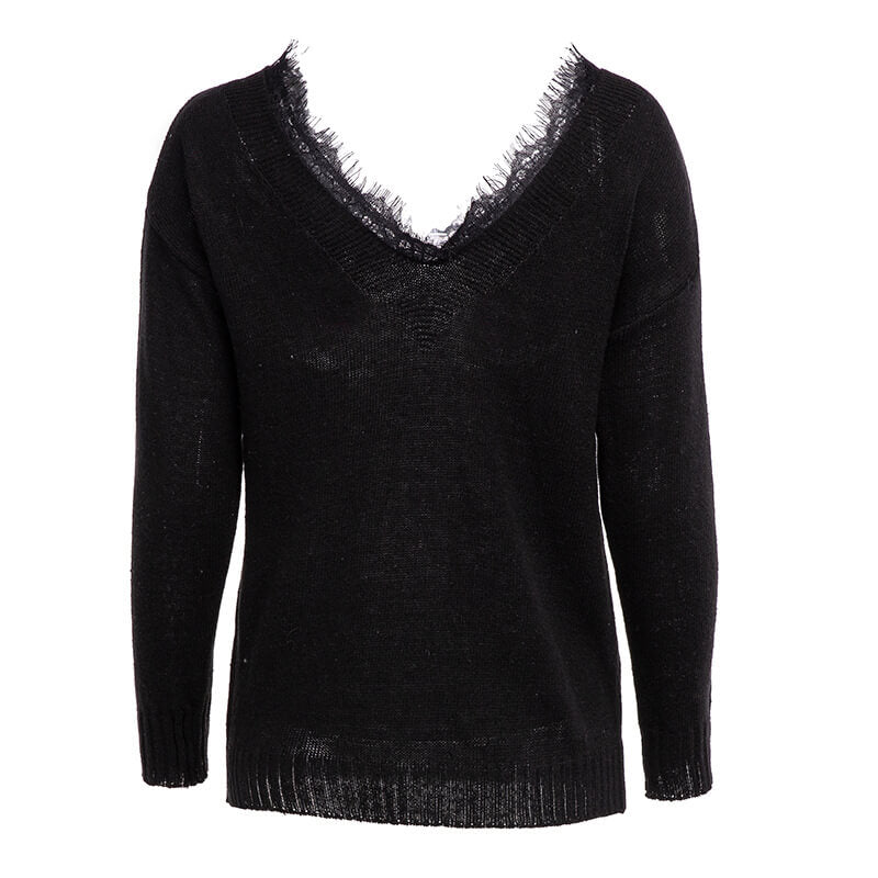 V-neck Lace Pure Color Knitting Sweater