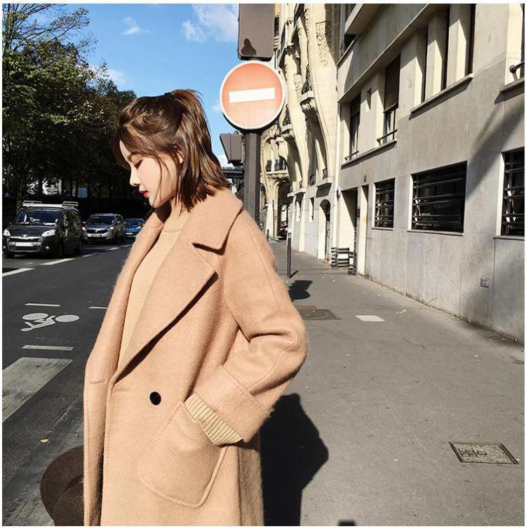 Lapel Big Pockets Candy Color Women Oversized Coat