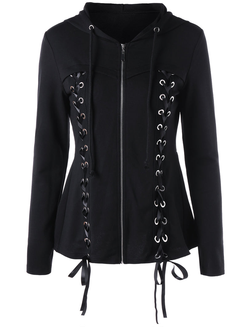 Bandage Lace-up Zipper Solid Color Women Hooded Slim Coat