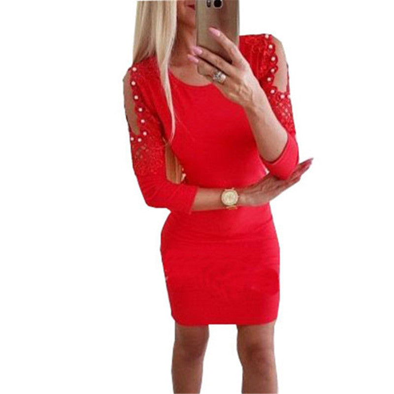 Solid Color Bare Shoulder Beadings Lace Patchwork Long Sleeves Women Short Dress