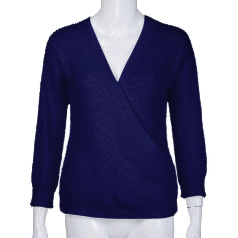 Deep V-neck Solid Color Women Pullover Wrap Sweater