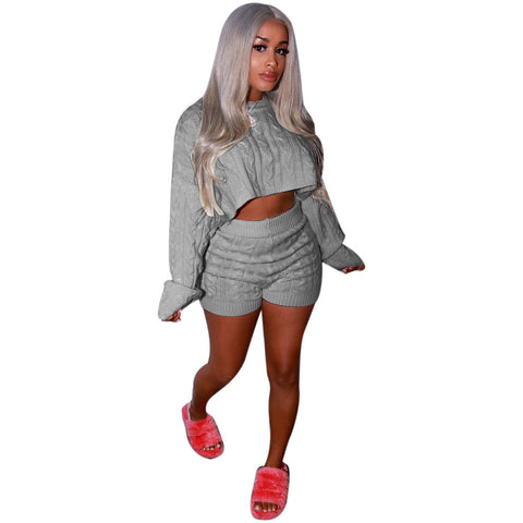 2fa77ae22 Cable Knit Cropped Sweater with High Waist Knit Shorts Women Two Pieces Set