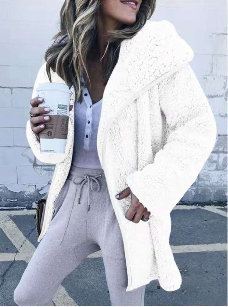 Solid Color Zipper Women Loose Teddy Long Coat