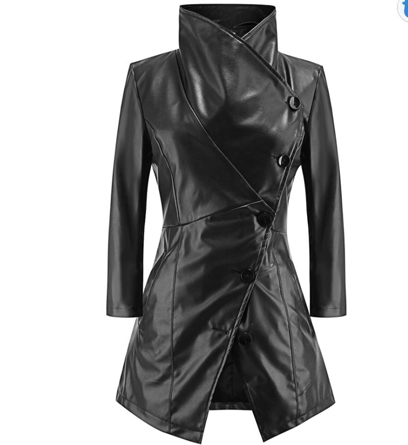 High Neck Lapel Oblique Buttons Women Oversized PU Coat