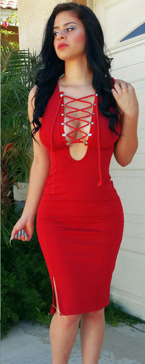 Sexy Strips across the Bust Bodycon Split Dress - Oh Yours Fashion - 2