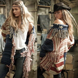 Colorful Stripes Stars Tassels Women Oversized Cocoon Cardigan
