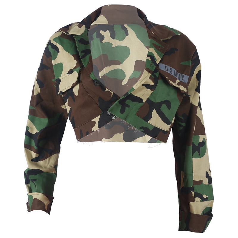 Stand Collar Pockets Women Camouflage Cropped Short Coats