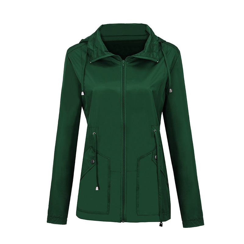 Candy Color Waterproof Lapel Women Slim Coat