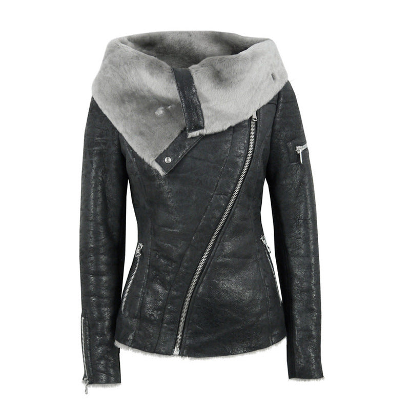 Lapel Faux Fur Oblique Zipper Women Slim Motorcycle Short PU Jacket
