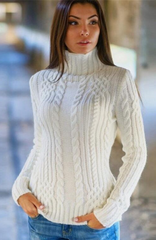 Cable High-neck Solid Slim Pullover Short Sweater - Oh Yours Fashion - 2
