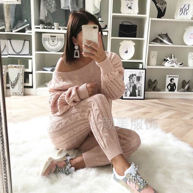 Solid Color Cable Knit Top with Long Skinny Pants Two Pieces Sweater Set