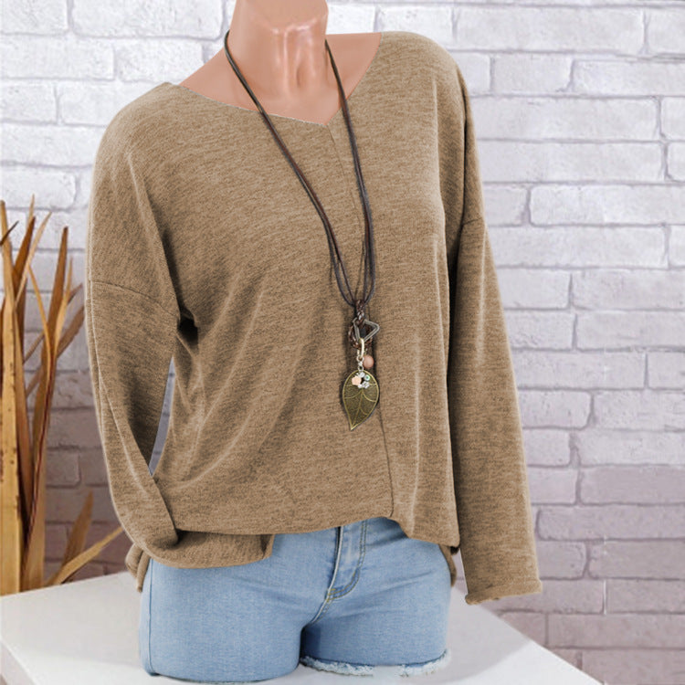 Pure Color Long Batwing Sleeves Women Loose Pullover Sweater