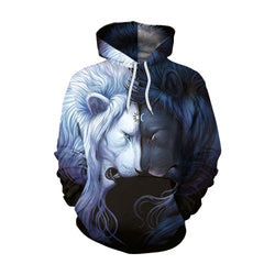 Drawstring Women 3D Cartoon Animal Print Loose Hooded Hoodie