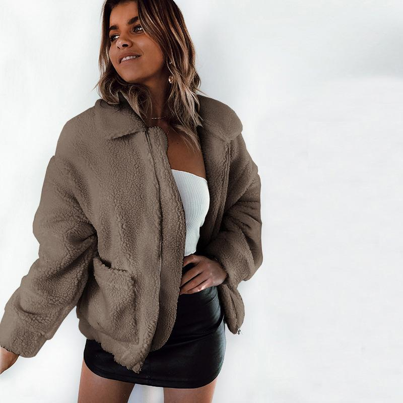 Big Pockets Zipper Lapel Candy Color Women Short Teddy Coat