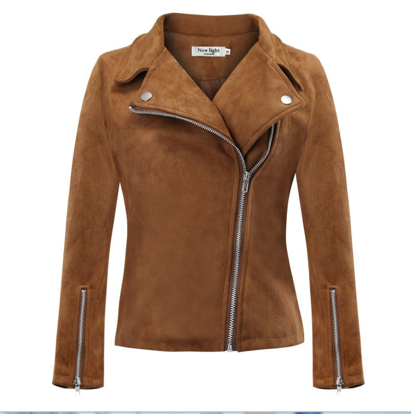 Side Oblique Zipper Lapel Solid Color Women Slim Short Jacket