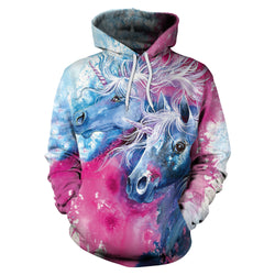 3D Horse Print Drawstring Women Hooded Hoodie