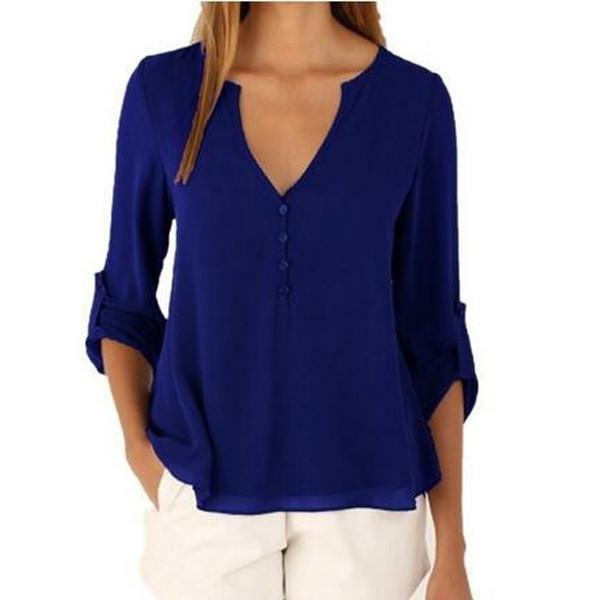 V-neck Long Sleeves Loose Plus Size Chiffon Blouse - Meet Yours Fashion - 2