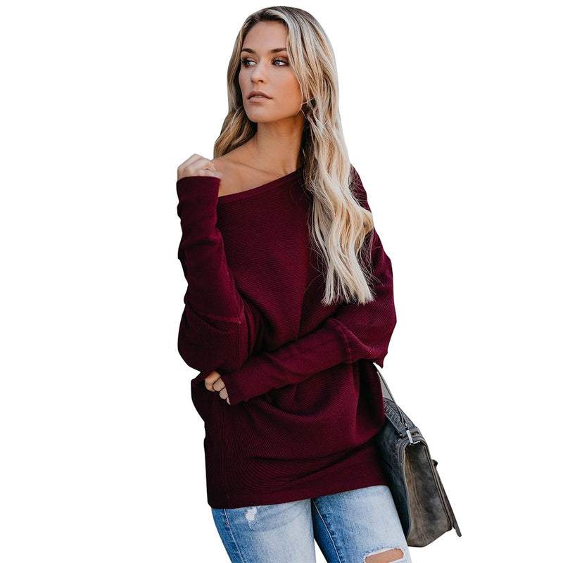 Bare Shoulder Long Batwing Sleeves Pure Color Women Loose Long Sweater